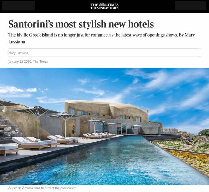 The Times January 25 2020 article Santorinis most stylish new hotels