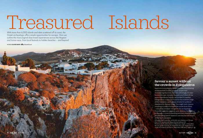 Screenshot of Greek Island guide in the April 2020 edition of Lonely Planet travel magazine
