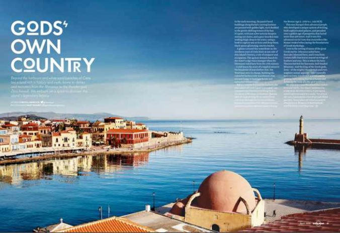 Screenshot of feature article about Crete in the April 2020 edition of Lonely Planet travel magazine