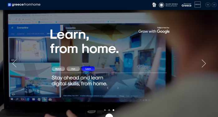 Screenshot of the Greecefromhome website digital skills learning channel