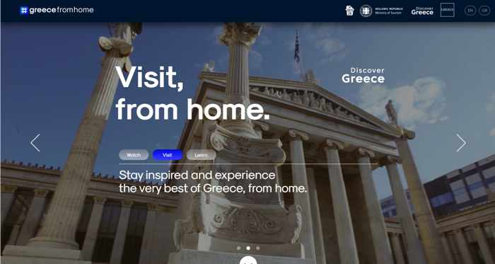 Greecefromhome website screenshot