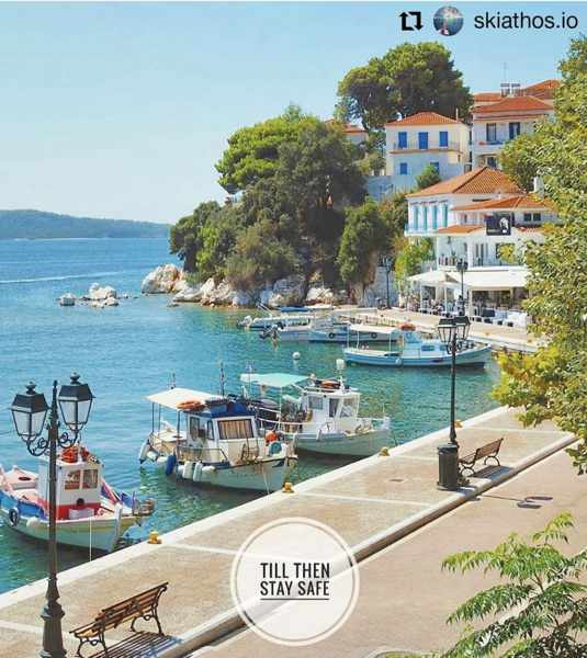 Skiathos Town seafront photo by @burritosandjazz