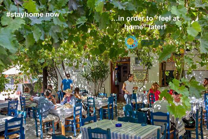 Stay Home Stay Safe taverna photo shared on Facebook by Naxos Island & Small Cyclades page