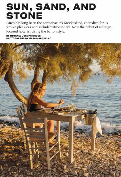 Sun Sand and Stone article about Paros island from Travel + Leisure magazine