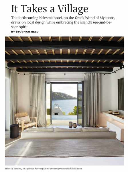 Travel + Leisure May 2020 article about Kalesma hotel on Mykonos