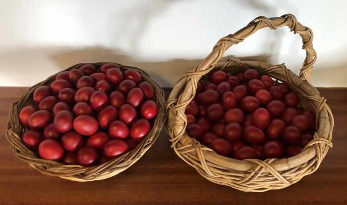 Red dyed eggs for Greek Easter