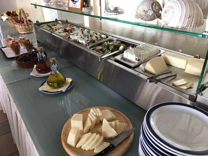 Greek Easter salads and cheeses at Delfinia Hotel on Lesvos