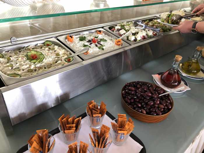 Greek Easter dinner salad buffet at Delfinia Hotel on Lesvos