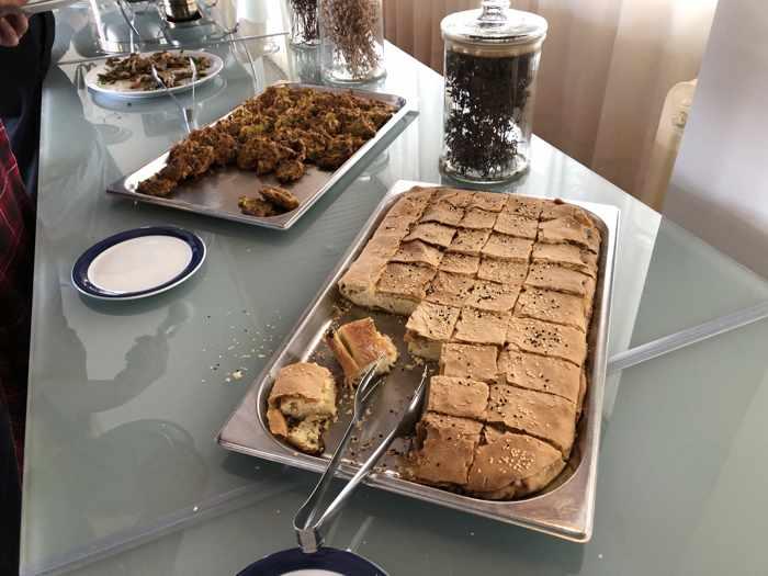 Greek Easter dinner side dishes at Delfinia Hotel on Lesvos