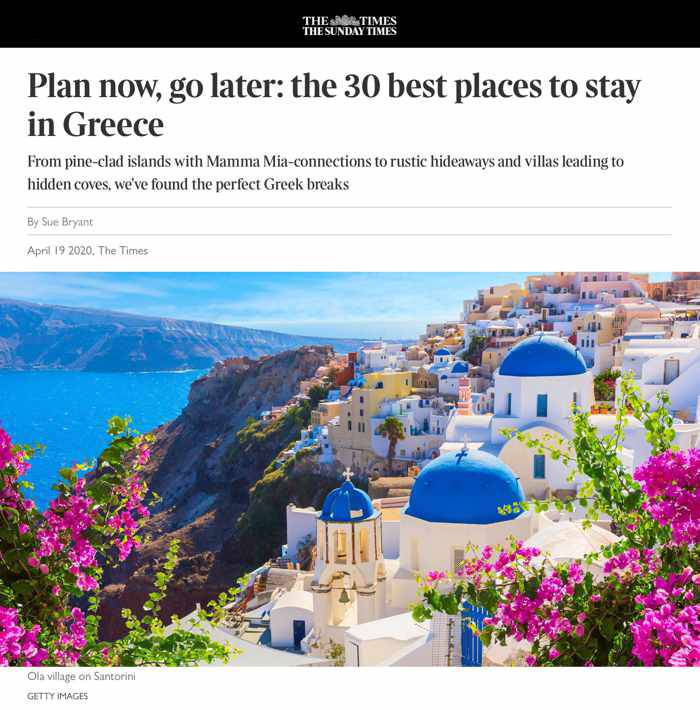 The Times article about 30 best places to go in Greece