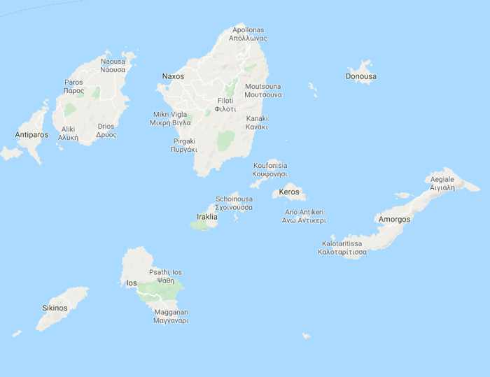 Google map of the Small Cyclades islands in Greece