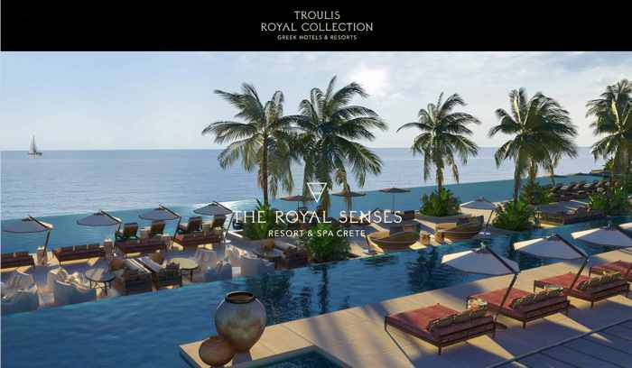 Screenshot of main web page for The Royal Senses Resort & Spa Crete