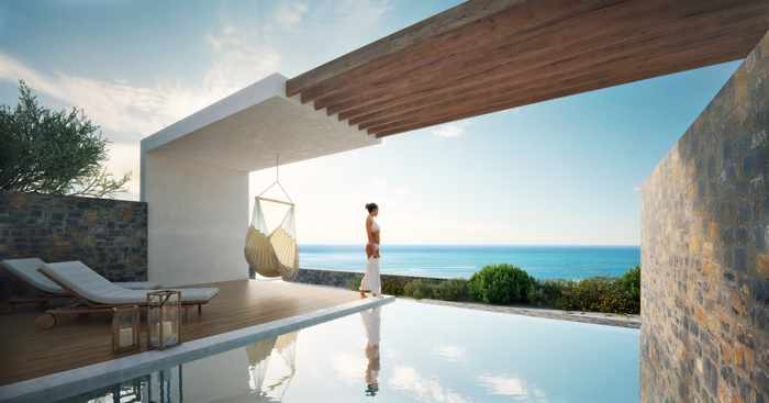 Private infinity pool for the VIP Elite Suite at Royal Senses Resort Crete