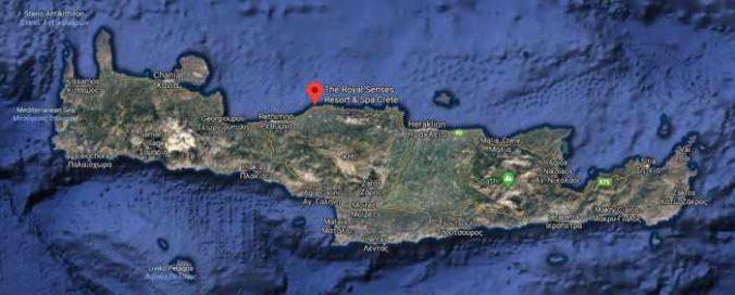 The Royal Senses Resort & Spa Crete location shown on a Google satellite image