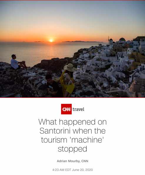 CNN Travel article on Santorini during the Covid-19 lockdown