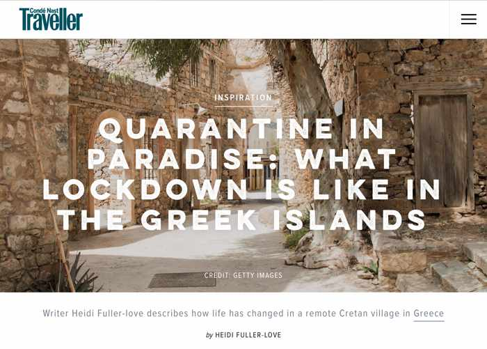 Conde Nast Traveller magazine article Quarantine in paradise