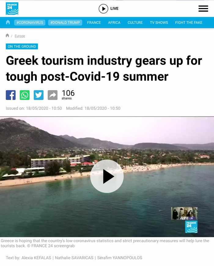 Screenshot of Greece tourism article for France24 news website