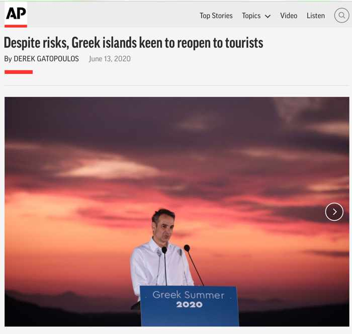 Screenshot of Derek Gatopoulos article about Greek Islands for The Associated Press