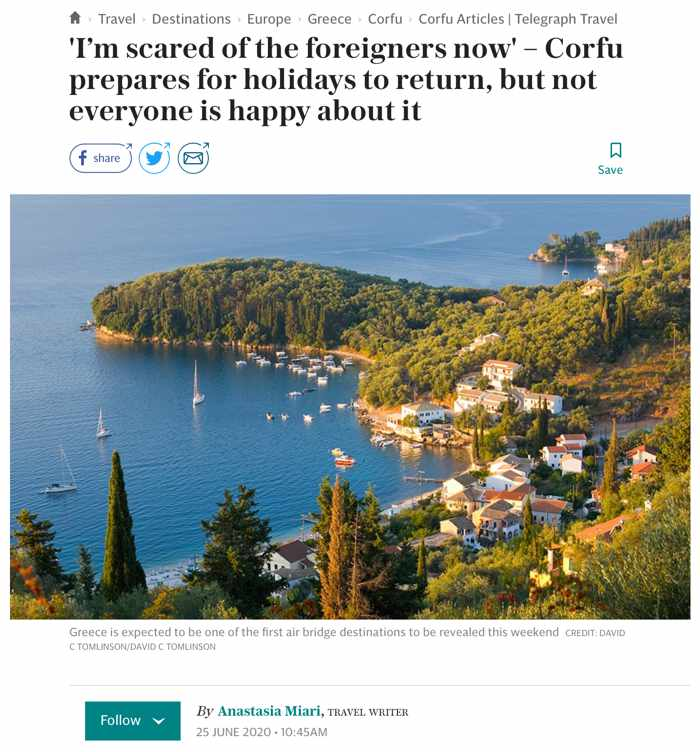 Screenshot of an article in TheTelegraph about Corfu island reopening to tourism