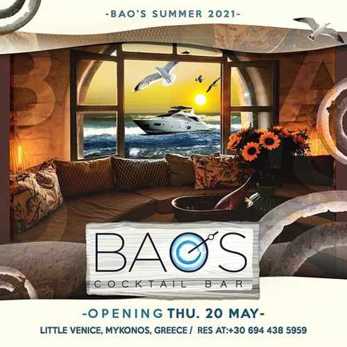 Opening announcement for Baos Cocktail Bar on Mykonos