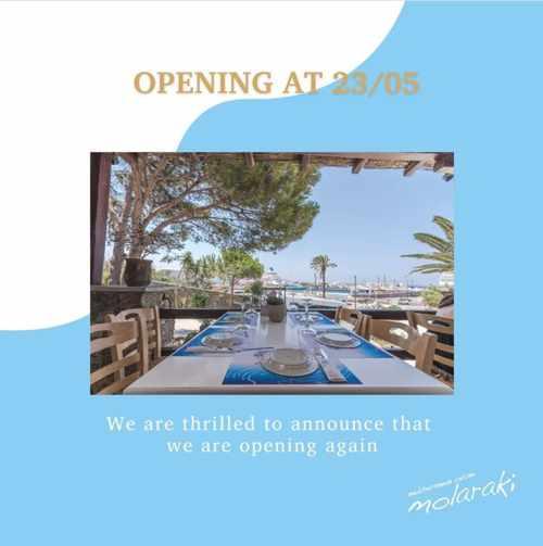 Opening announcement for Molaraki restaurant on Mykonos