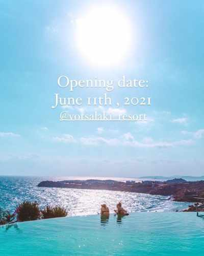 Season opening announcement by Votsalaki Boutique Resort on Mykonos