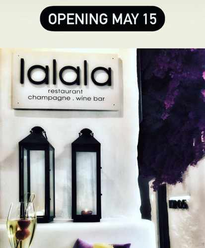 Opening announcement for lalala restaurant and champagne bar on Mykonos
