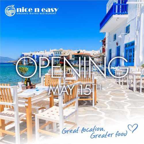 opening announcement for nice n easy restaurant Mykonos