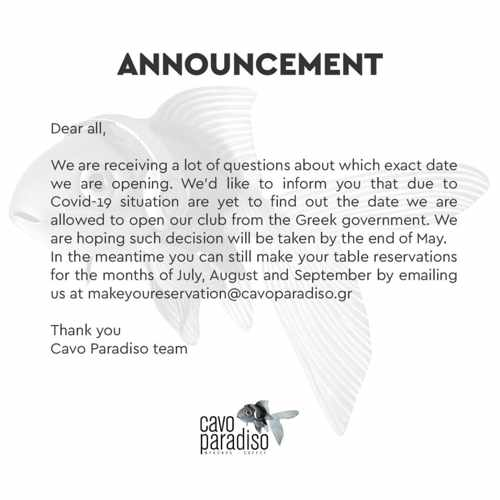 Cavo Paradiso Mykonos announcement re its 2021 season start date