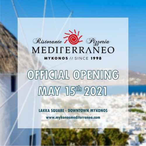 Mediterraneo restaurant Mykonos opening announcement for 2021