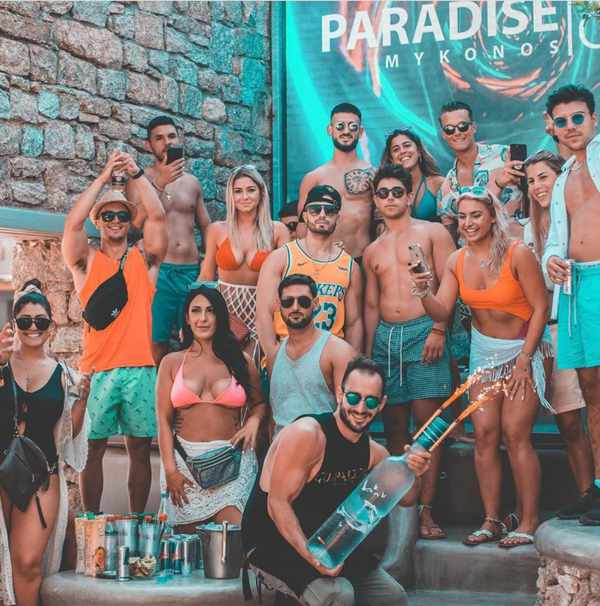Party scene from Paradise Beach Club on Mykonos