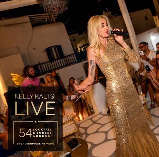 Singer Kelly Kaltsi performs at 54 Cocktail Bar and Sunset Lounge on Mykonos