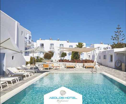 Aeolos Hotel on Mykonos seen in an image from its social media pages