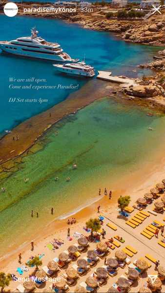 Aerial photo of Paradise Beach Club Mykonos from the clubs page on Instagram