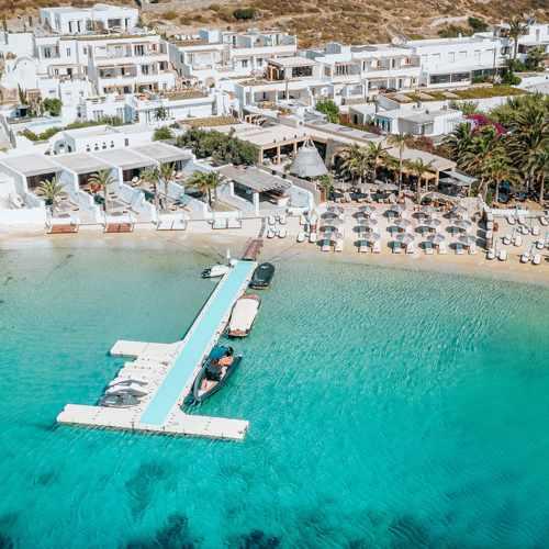 Aerial view of Kensho Psarou hotel on Mykonos
