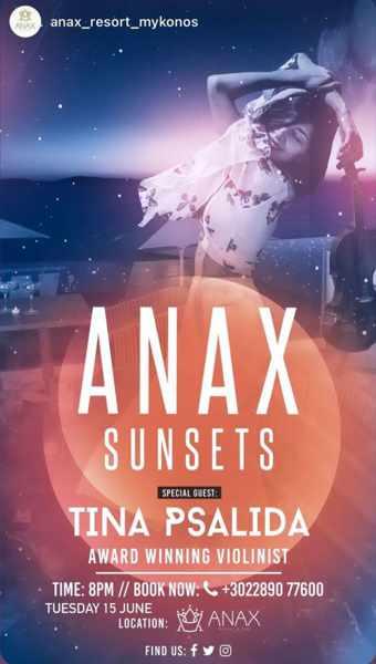 Anax Resort Mykonos presents violinist Tina Psalida during summer 2021