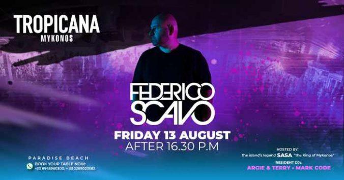 August 13 2021 Federico Scavo show at Tropicana beach club on Mykonos