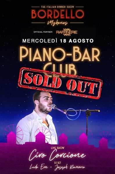August 18 2021 Bordello Mykonos Piano Bar club event