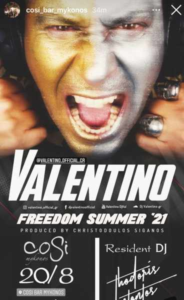 August 20 2021 Cosi Bar Mykonos presents DJ Valentino
