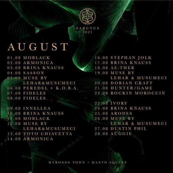 Sanctus club Mykonos August DJ schedule