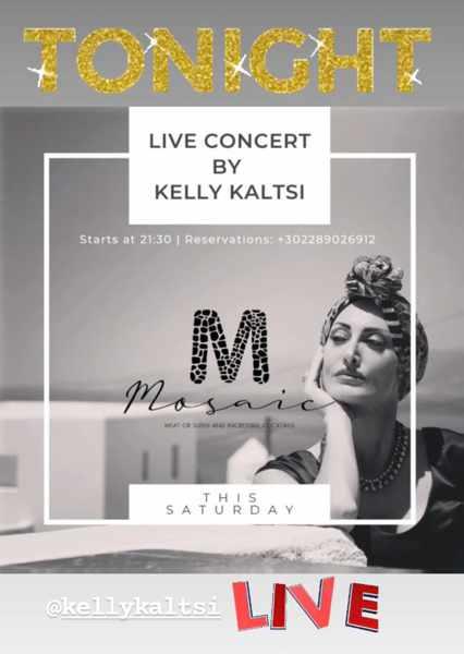 August 28 2021 Mosaic restaurant on Mykonos presents singer Kelly Kaltsi