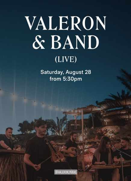 August 28 2021 Valeron and Band perform at Scorpios beach club on Mykonos