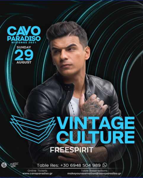 August 29 2021 Cavo Paradiso Mykonos presents Vintage Culture with Freespirit