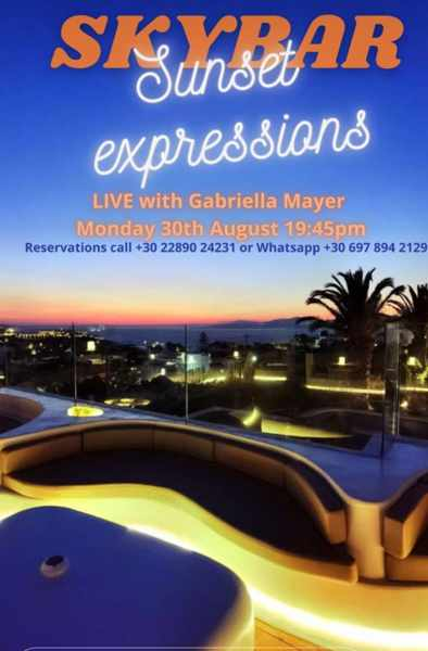 August 30 2021 Andronikos Hotel on Mykonos presents singer Gabriella Mayer
