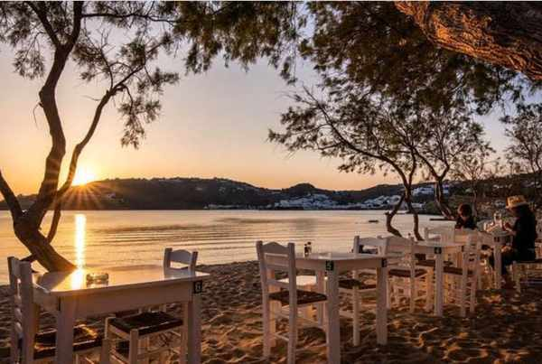 Nikolas Taverna tables at Agia Anna  Paraga beach on Mykonos