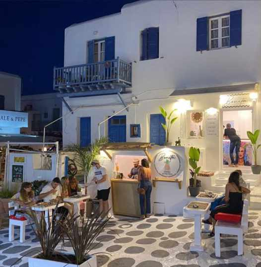 Bonita restaurant and cocktail bar in Mykonos seen in a street view photo from its social media pages