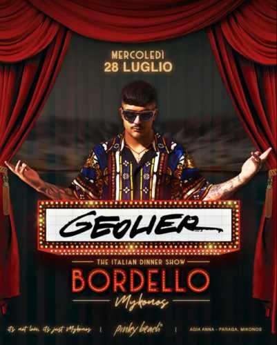 Bordello Mykonos July 28 show featuring Geolier