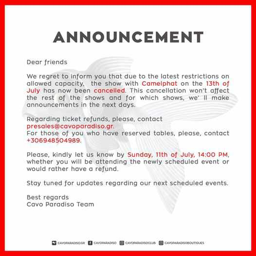 Cavo Paradiso Mykonos announcement concerning cancellation of its show featuring CamelPhat