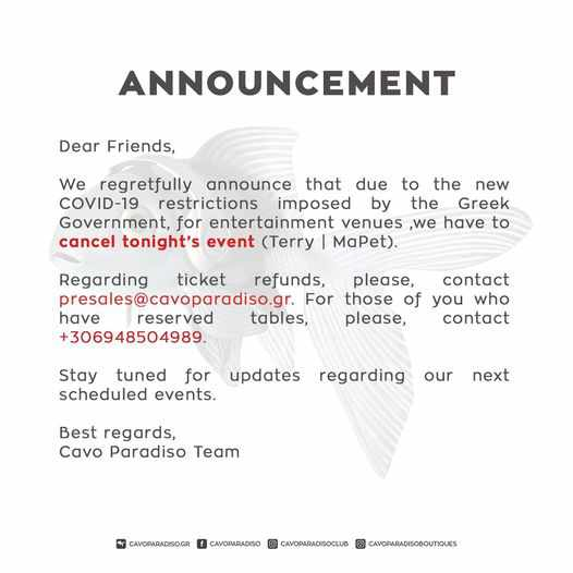 Cavo Paradiso Mykonos event cancellation