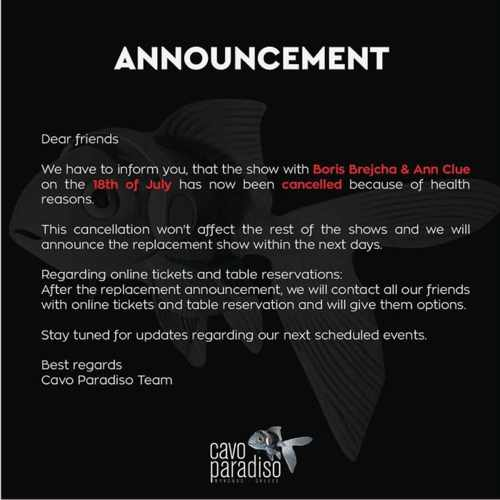 Cavo Paradiso Mykonos announcement concerning the July 18 DJ show